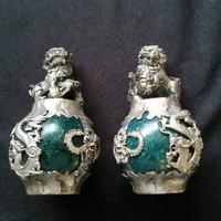 Jade, ázsiai,szerencsét hozó,oroszlános szoborpár ,