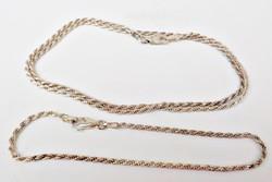 Csavart mintás 925 ezüst karkötő és nyaklánc szett