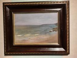 Aukcionált Szikszay Ferenc (1870-1908) Alkonyat a tengeren c. olajfestménye eladó.