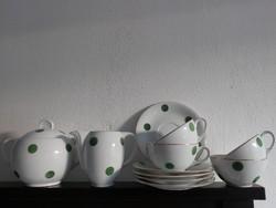 Drasche zöld pöttyös teás szett, pettyes teás készlet