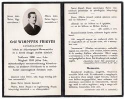 Gróf Wimpffen Frigyes  kongreganista és halotti értesítője,  Ercsi