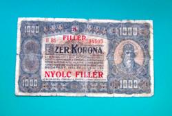 1000 Korona 8 fillér felülbélyegzéssel  -1923 július 1. -  Budapest  - sorozat: B 81