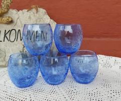 Retro röviditalos pohár poharak repesztett Gyönyörű kék Fátyolüveg fátyol karcagi berekfürdői üveg