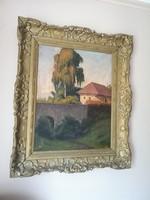 Kovásznai Kováts István (1864) festő nagy méretű festménye: Magyar tető délutáni napsütés