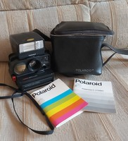 Polaroid Polasonic Autofocus 5000 Fényképezőgép Polatronic 5 Vakuval,könyvei, bőr táska.