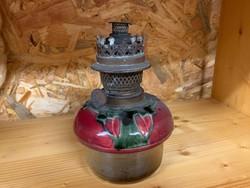Antik fajansz petróleumlámpa, petróleum lámpa