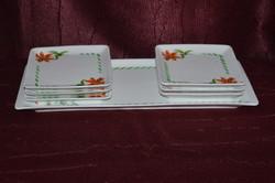 Hollóházi szögletes süteményes készlet  ( DBZ 00121 )