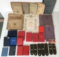 Rákosi és szocialista hagyaték kitüntetés dobozok, oklevél, igazolványok, füzetek stb..