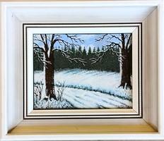 Ismeretlen művész, E. Tieuka – Téli erdő című festménye – 170.
