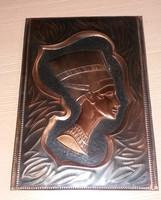 Réz dombornyomott kép Nofertiti fáraó