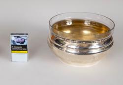 Ezüst üvegbetétes asztalközép / kínáló