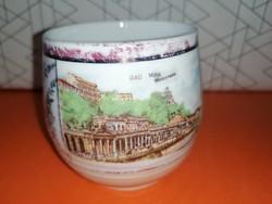Antik Karlsbadi porcelán, fürdő emlékpohár