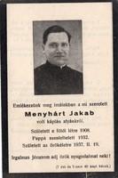 Menyhárt Jakab káplán halotti értesítő