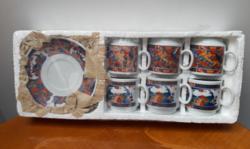 Gazdagon festett újkori kínai porcelán presszo kávés készlet