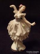Kuriózum antik filigran hab porcelán balerina  kislány ritkaság