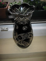 Sötét bordó ólomkristály váza 1945-50 ből