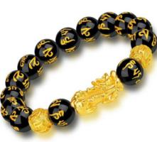 Feng shui fekete-arany obszidián szerencsehozó karkötő