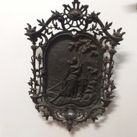 Ritka Öntöttvas Bacchanalia, Zsáner Kép.1860-80 évekből. 53 cm.