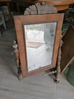Felújításra! Antik fésülködő tükör + fa fiók lappal + márvány lap