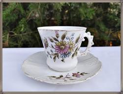Ritka, antik, különleges bajuszvédős csészés, porcelán teás szett