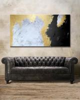 Vörös Edit: Gold Black White Gray Abstract 150x80cm