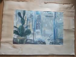 GÖLDNER TIBOR: Kaktusz ablakban, 1964 (akvarell 37x54) csendélet, modern - Rudnay Gyula tanítványa