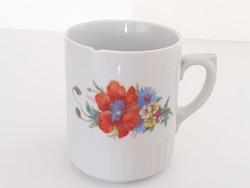 Régi Zsolnay porcelán bögre pipacsos mezeivirágos teás csésze 1 db