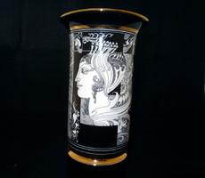 Hollóházi Szász Endre porcelán váza, 26cm magas