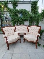 Neobarokk stílusú ülőgarnitúra restaurált, frissen kárpitozott 1+1+2