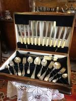 Sheffield, 6 személyes, antik, jelzett, ezüstözött, 5 fogásos, 47 darabos evőeszköz készlet
