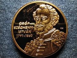 Nagy Magyarok Széchenyi István aranyozott réz érem PP (id51035)