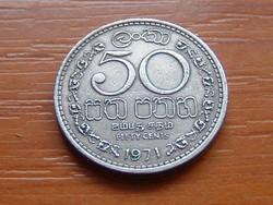 SRI LANKA (CEYLON) 50 CENT 1971 75% réz, 25% nikkel #