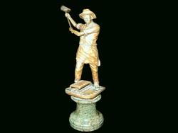 SCHAFFEN Fémmunkás bronzszobor márvány talapzaton
