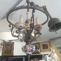 Antik Bronz-Réz Majolika Lüszter Csillár.Lámpa.