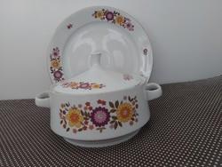 Alföldi leveses tál kínálóval tűzvirágos dekorral, tűzvirág