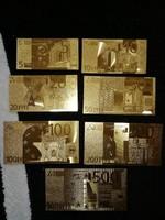 Új - 7 db-os aranyozott, plasztik euró sor egyben.   II.