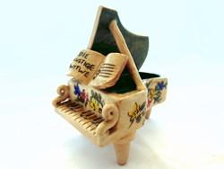 Antik kézzel festett virág díszítésű szecessziós porcelán zongora