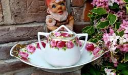 Gyönyörű régi rózsás virágos cukortartó +kínáló kisebb pecsenyés