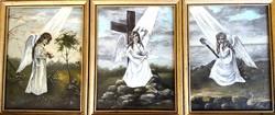 Érdekesség! Ismeretlen festő H.S. szignóval – Hit, Remény, Szeretet – festmény-triológia – 172.