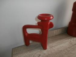 Art deco piros figurális mécses-gyertyatartó