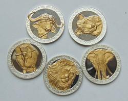 BIG FIVE - Uganda 2002 - Teljes ezüst érmesor
