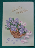 Virágos üdvözlőlap,százszorszép,használt ,kinyithatós levelezőlap,GOMA képeslap