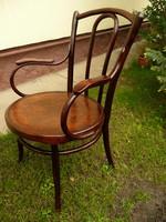 Eredeti antik, ritka nagyon széles ülőkés, nyomott mintás, karfás Thonet íróasztal szék