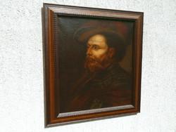 Egy öregember portréja szakállal  vörös kalapban (XVIII.sz) olajfestmény