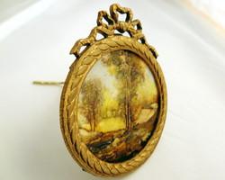 E. Kirchner Tájkép miniatura csont lemezen