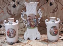 3db antik jelenetes kis porcelán váza