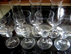 4+4 retro talpas kristály pohár készlet