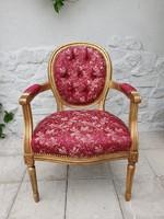 Arany színű karosszék fotel Vintage új kárpittal