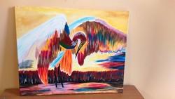 Absztrakt madár festmény 40x50 cm