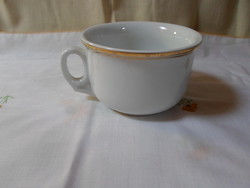 Zsolnay porcelán komabögre, komacsésze; aranyszélű fehér csésze, bögre
